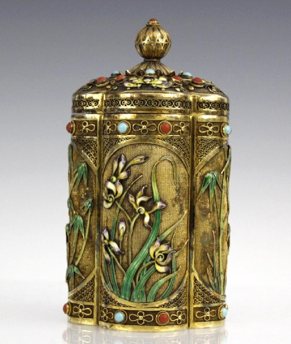 Clover Shape Lilly Bamboo Tea Caddy Enameled Box