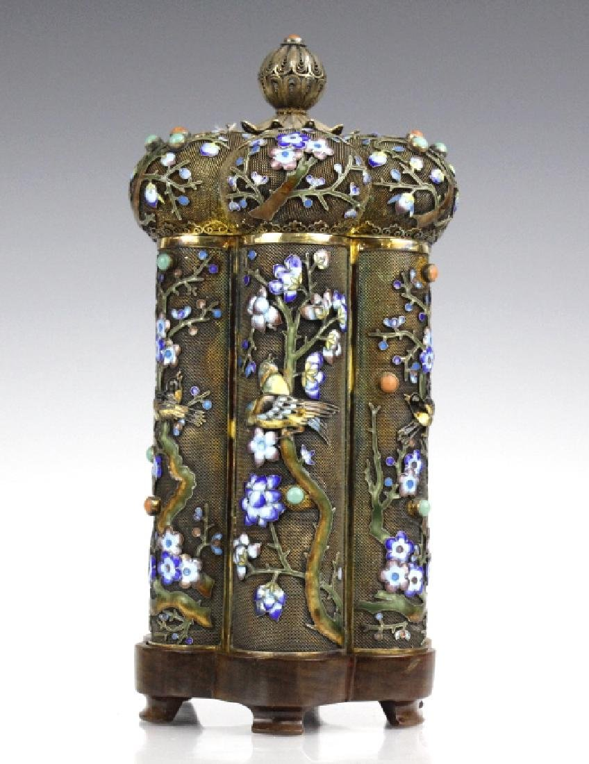 Antique Chinese Export Silver Enamel Tea Caddy Box