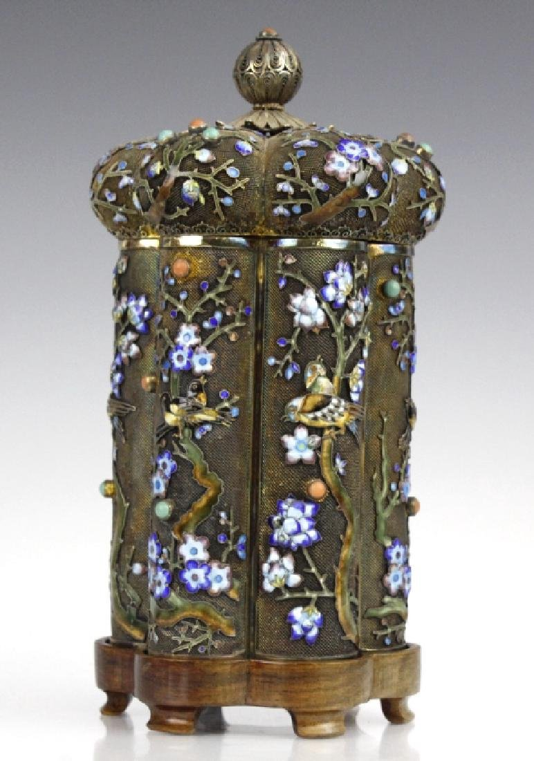 Antique Chinese Export Silver Enamel Tea Caddy Box - 3