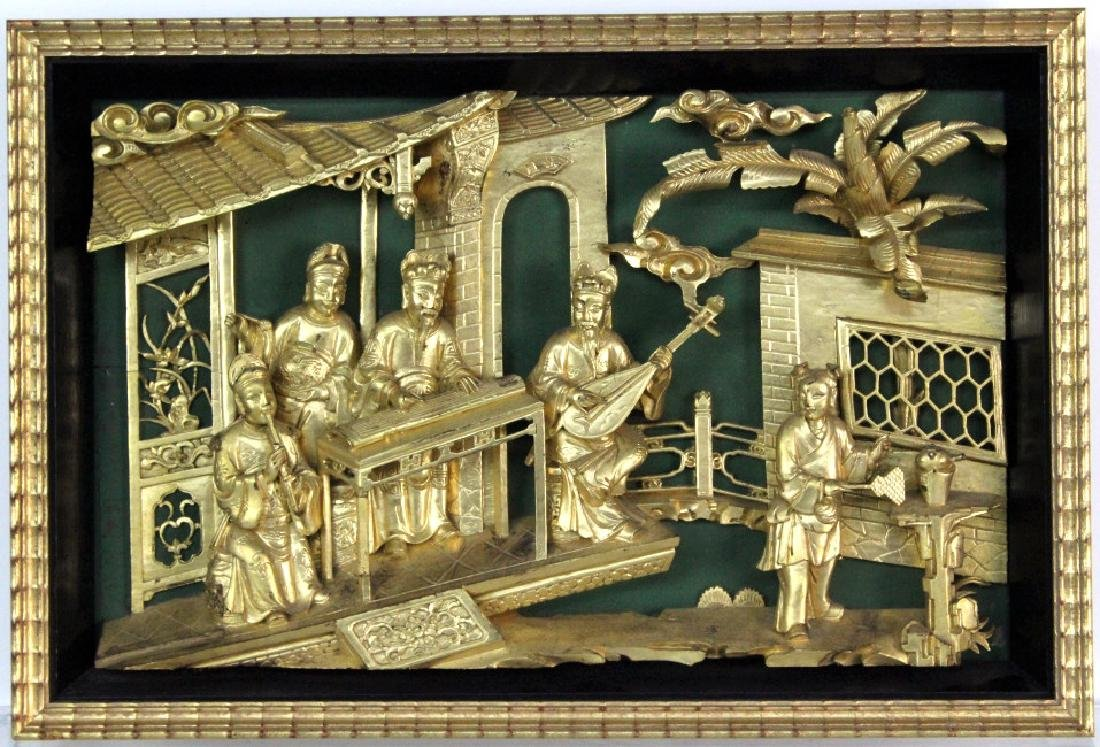 Chinese Gold Gilt Deep Relief Temple Carving
