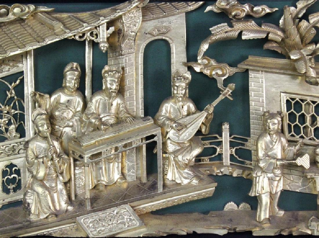Chinese Gold Gilt Deep Relief Temple Carving - 2