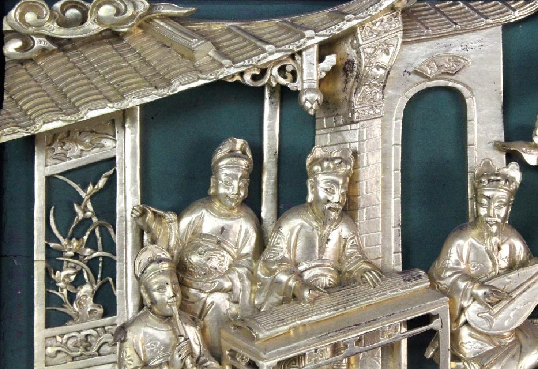 Chinese Gold Gilt Deep Relief Temple Carving - 4