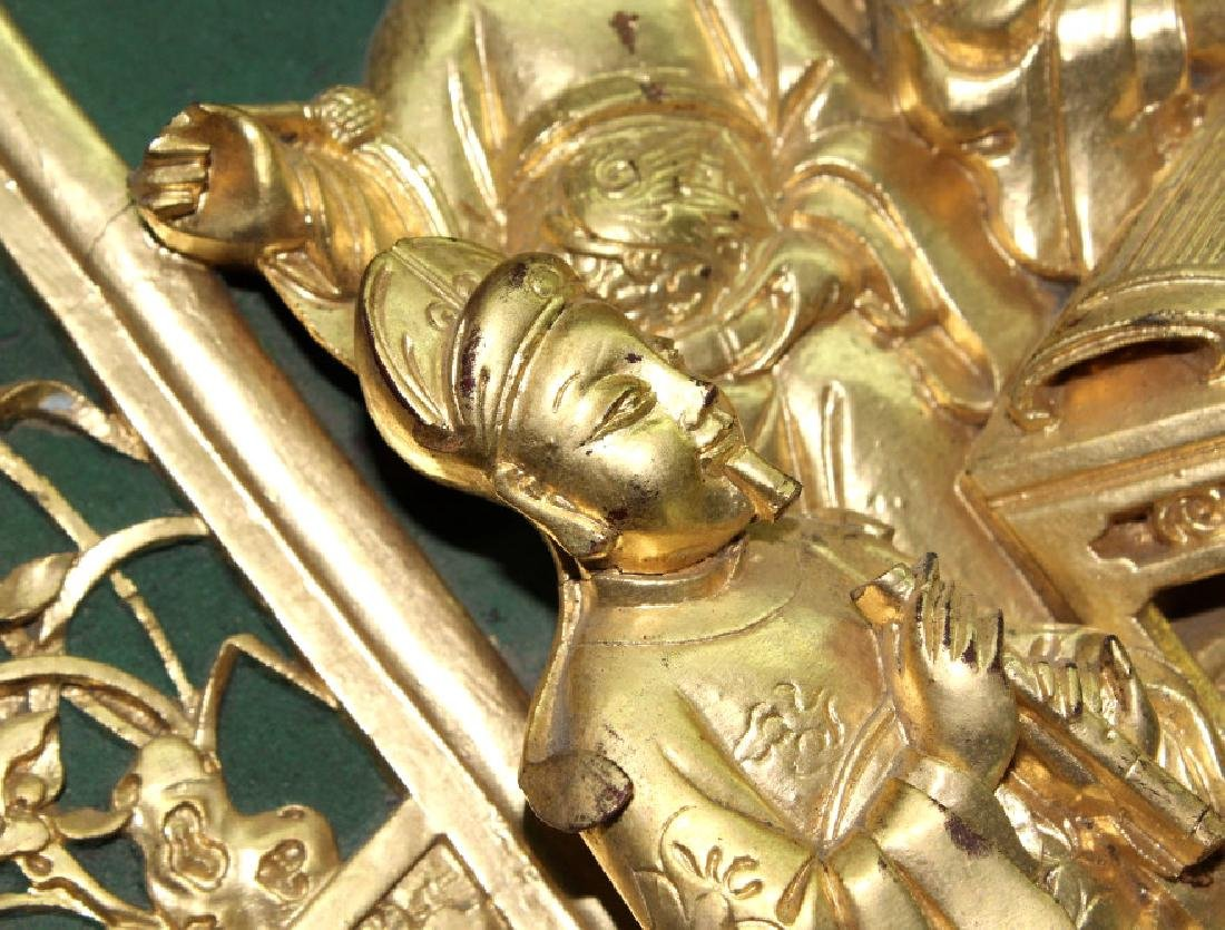 Chinese Gold Gilt Deep Relief Temple Carving - 5