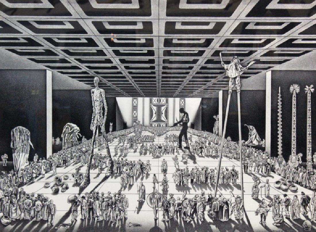 Nancy Wolf Signed Graphite Futuristic Art BASS MUSEUM