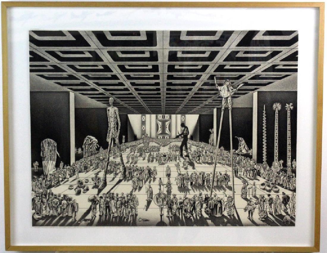 Nancy Wolf Signed Graphite Futuristic Art BASS MUSEUM - 2