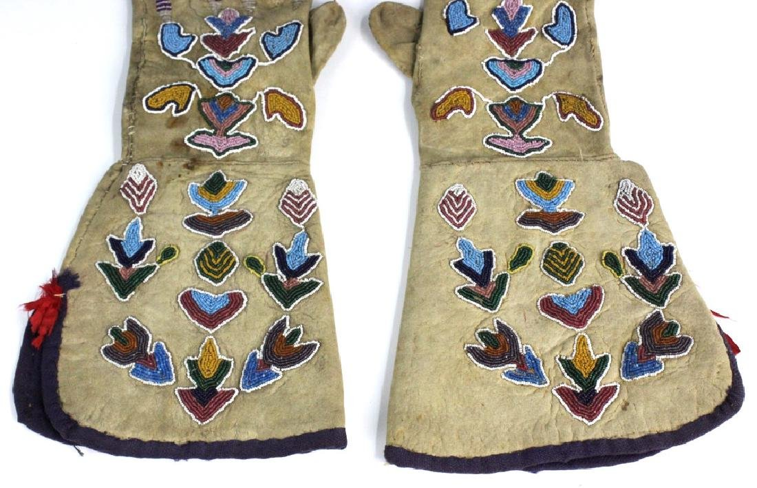Pair Native American Indian Beaded Leather Gloves - 3