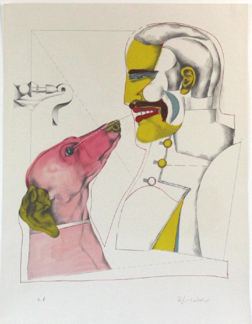 Richard Lindner Signed AP Man & Dog from BASS MUSEUM
