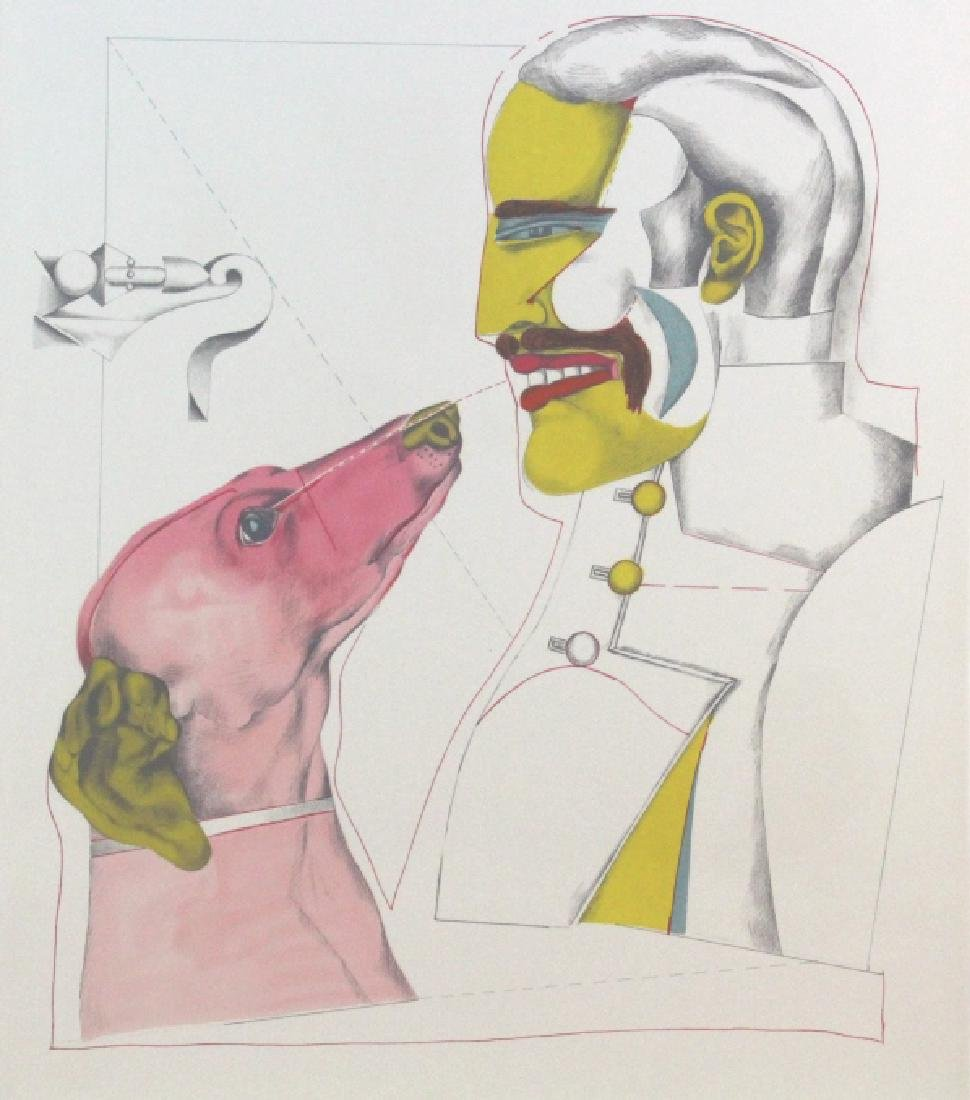 Richard Lindner Signed AP Man & Dog from BASS MUSEUM - 2
