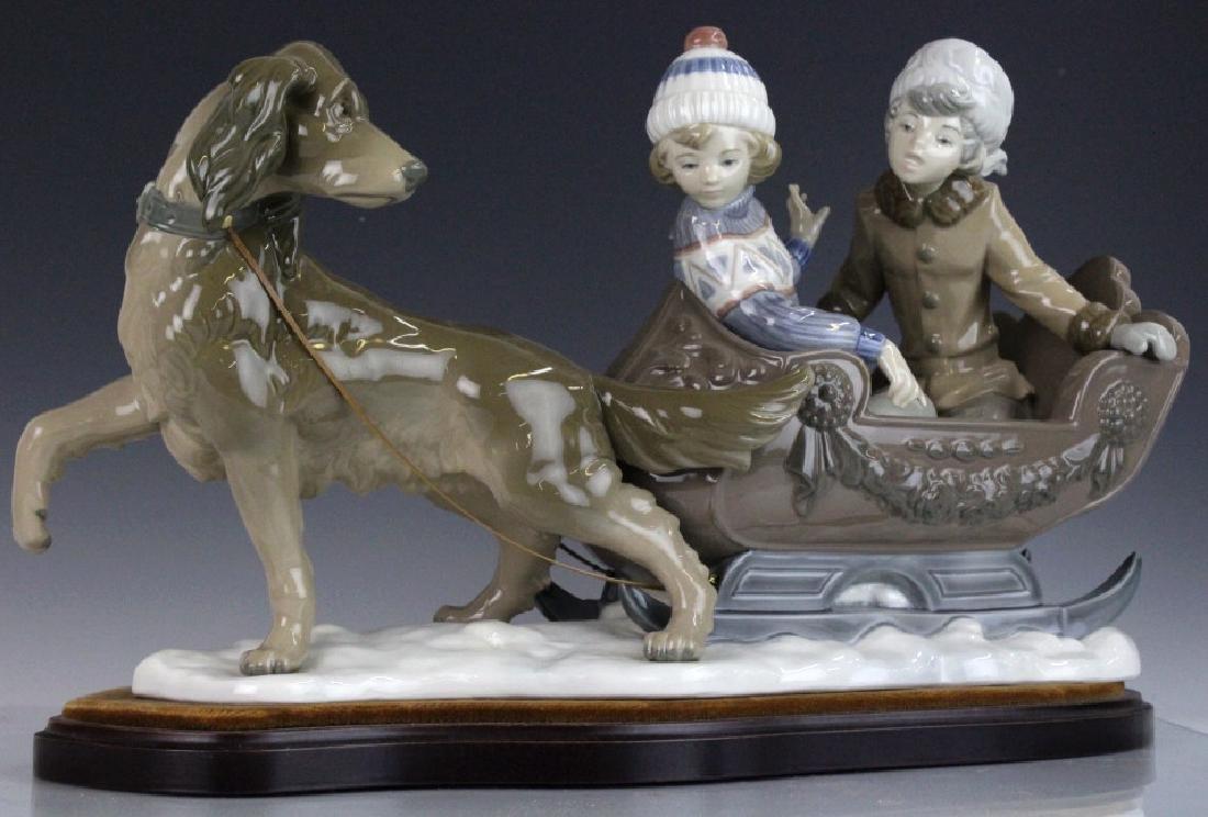 Retired LLADRO Dog Sled Sleigh Porcelain Figurine