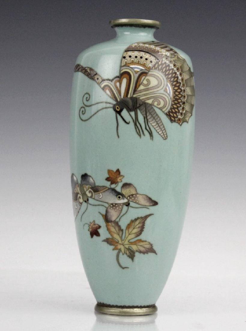Cloisonne Enamel Plum Butterflys Moths Insect Vase