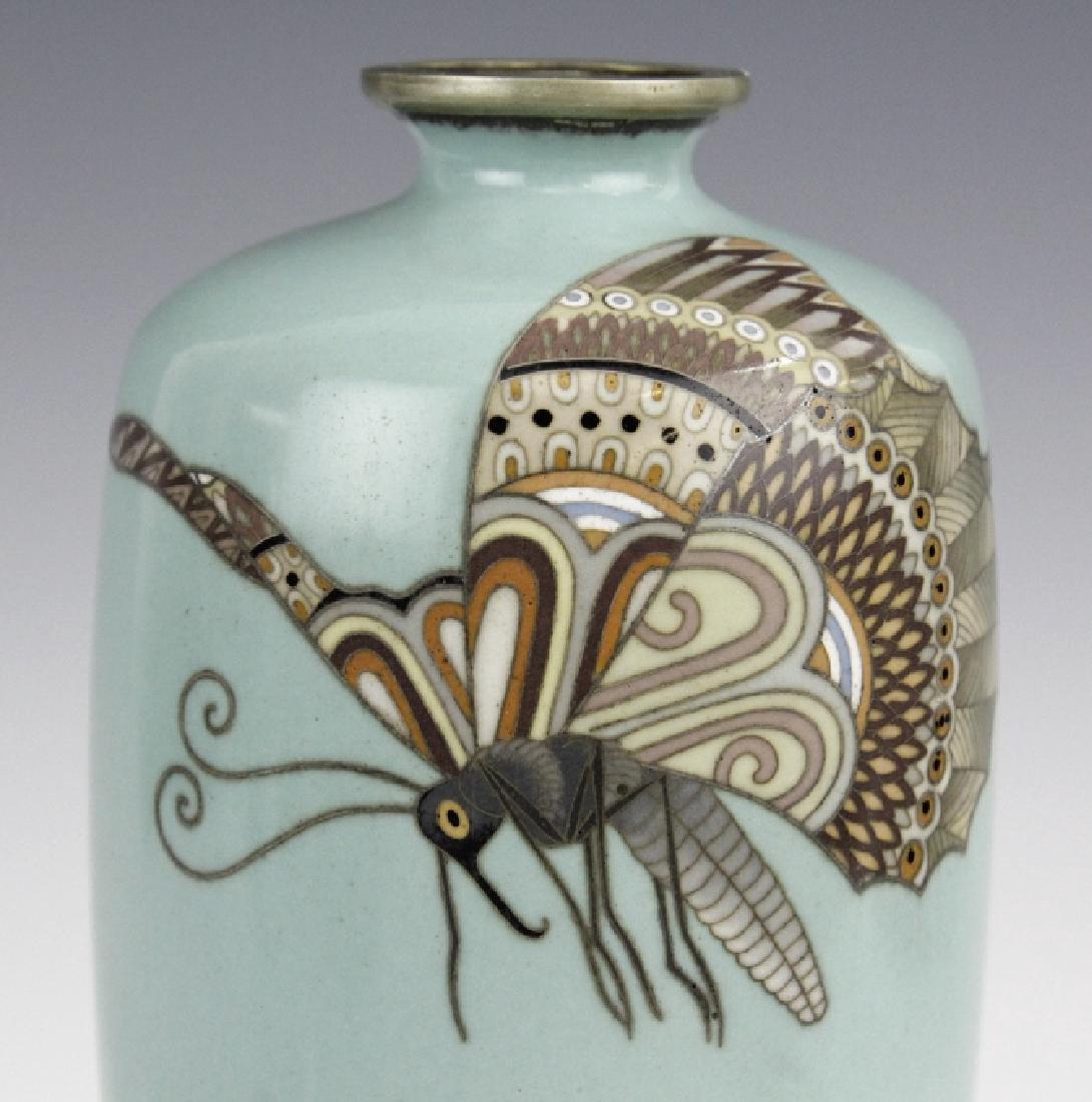 Cloisonne Enamel Plum Butterflys Moths Insect Vase - 2