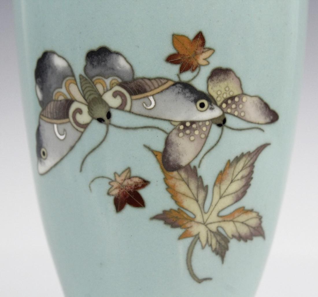 Cloisonne Enamel Plum Butterflys Moths Insect Vase - 3