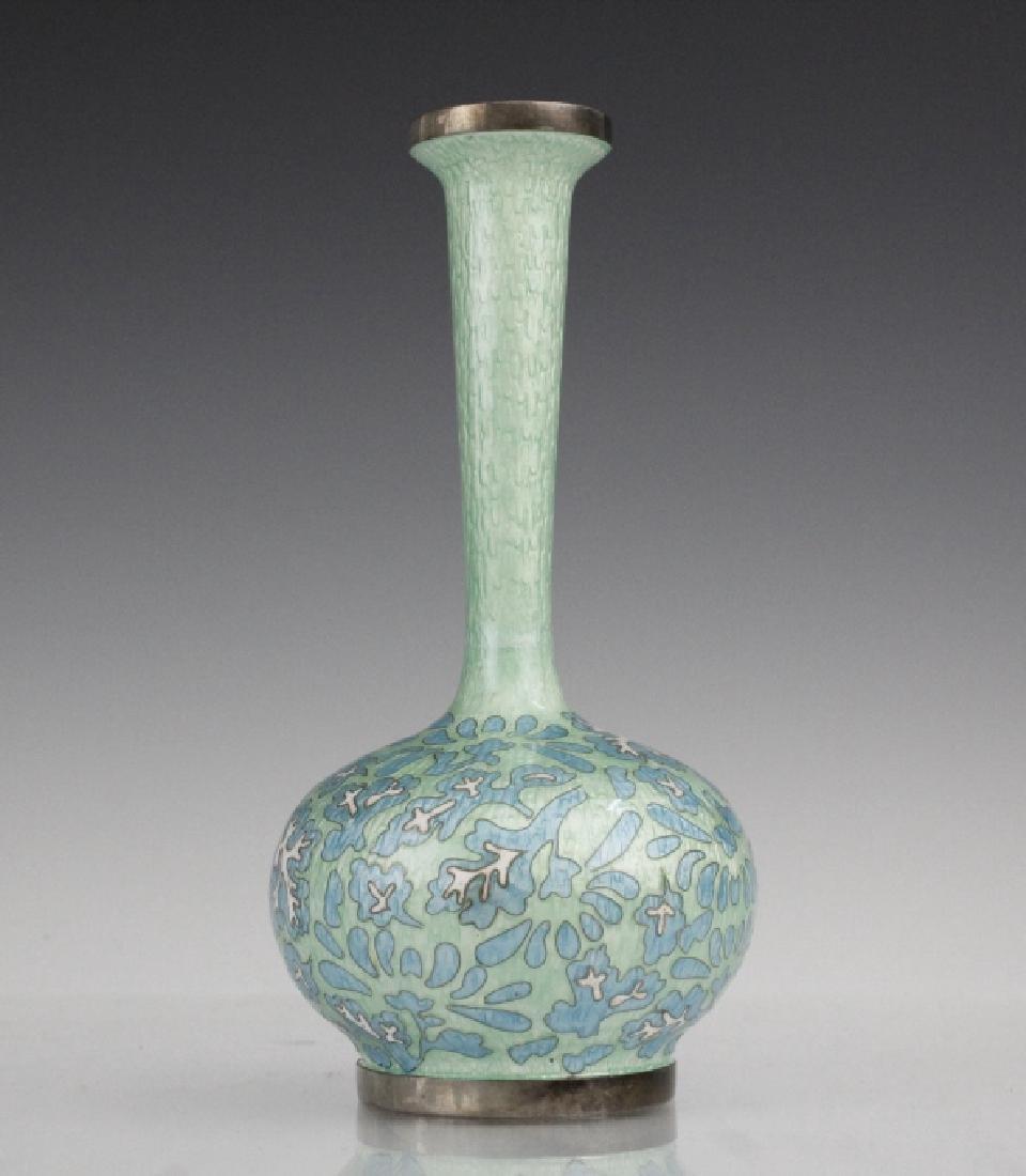 Japanese Guilloche Cloisonne Enamel Silver Vase
