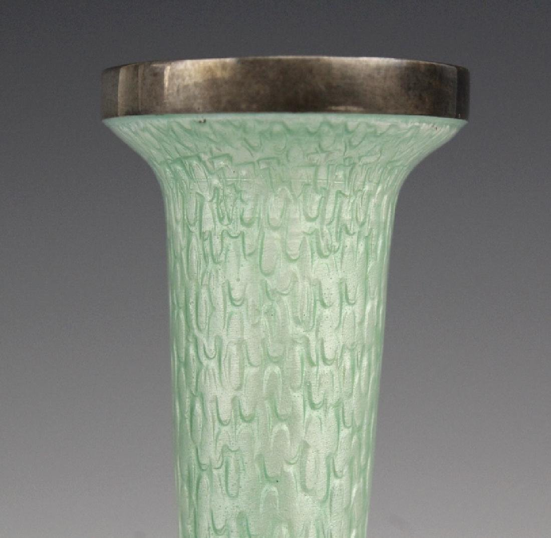 Japanese Guilloche Cloisonne Enamel Silver Vase - 3