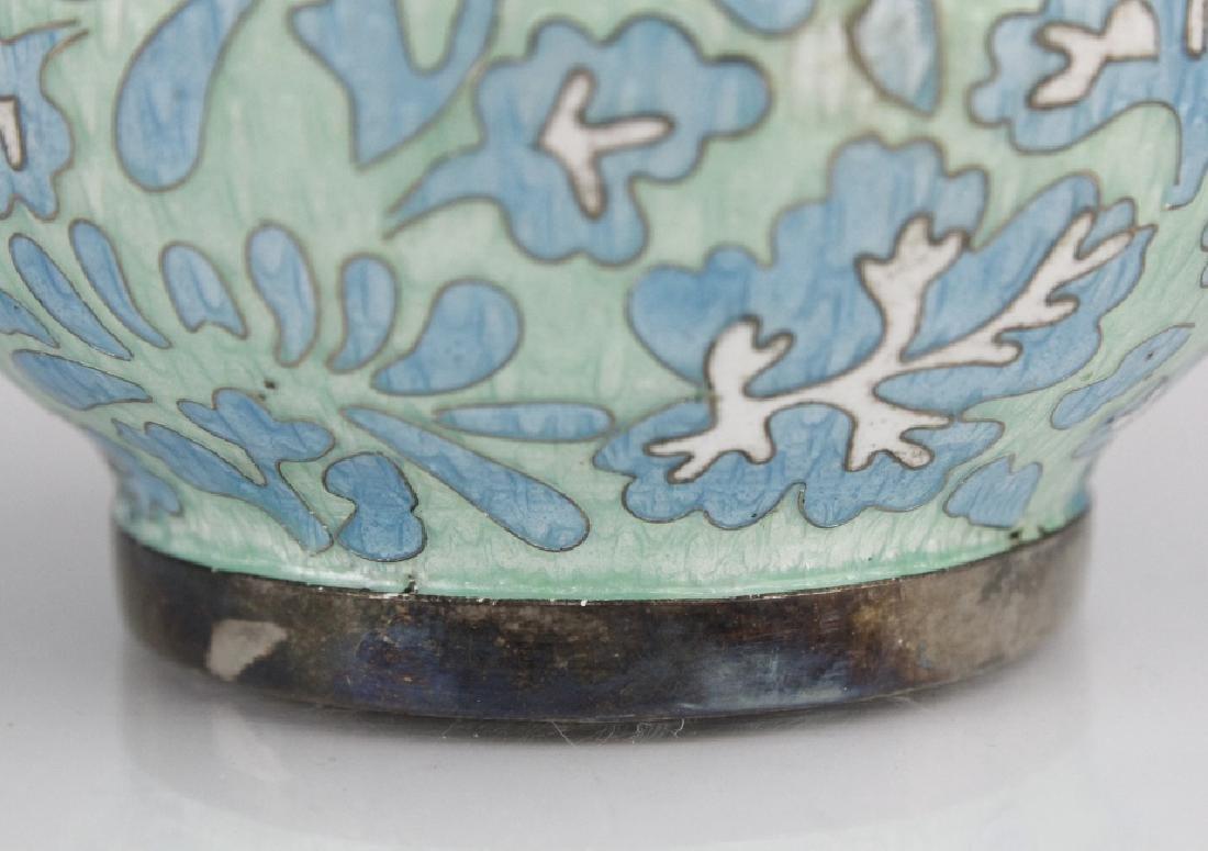Japanese Guilloche Cloisonne Enamel Silver Vase - 5