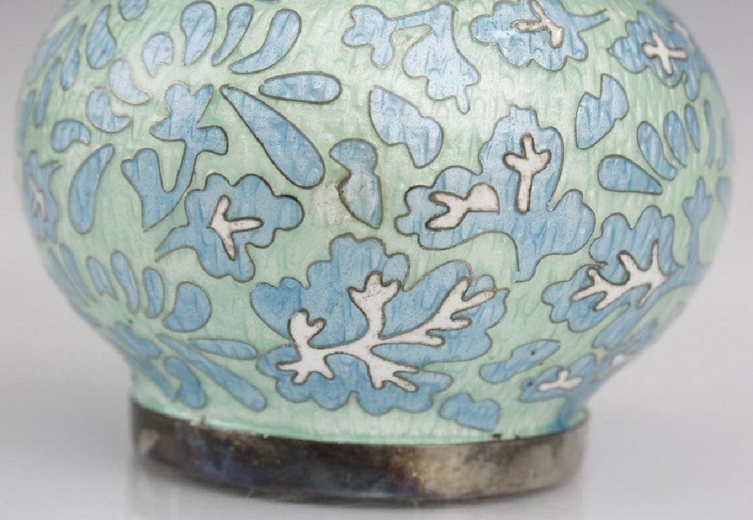 Japanese Guilloche Cloisonne Enamel Silver Vase - 6