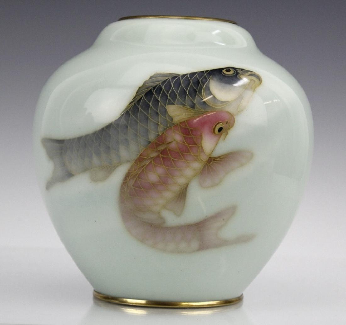Japanese Cloisonne Enamel Koi Vase by Ando Jubei