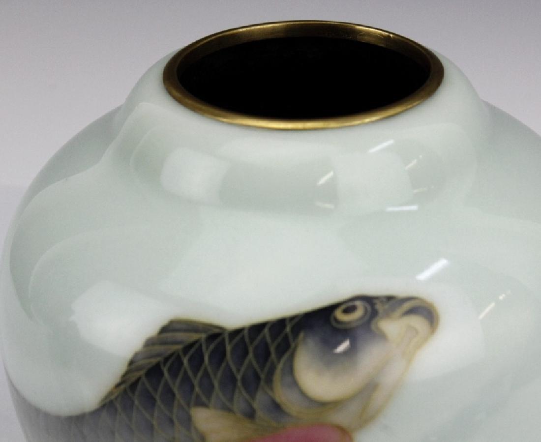 Japanese Cloisonne Enamel Koi Vase by Ando Jubei - 3
