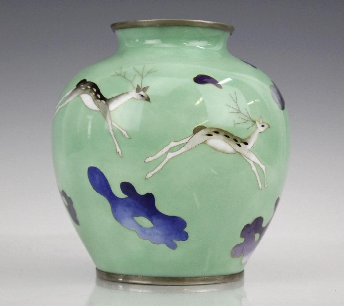 SATO Japanese Cloisonne Enamel Vase with Deer
