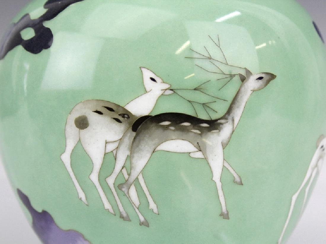 SATO Japanese Cloisonne Enamel Vase with Deer - 2