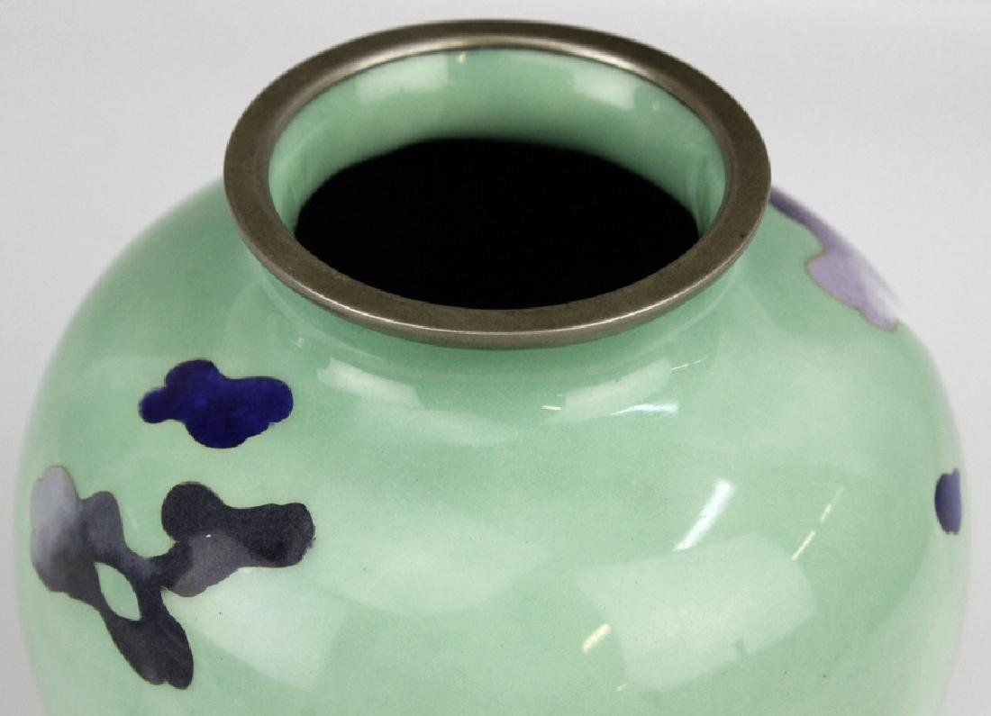 SATO Japanese Cloisonne Enamel Vase with Deer - 3