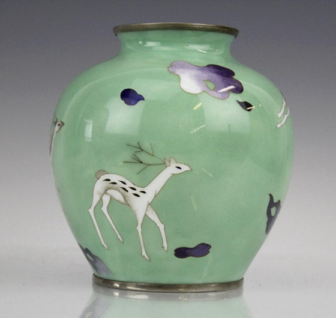 SATO Japanese Cloisonne Enamel Vase with Deer - 5