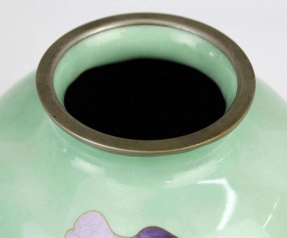 SATO Japanese Cloisonne Enamel Vase with Deer - 6