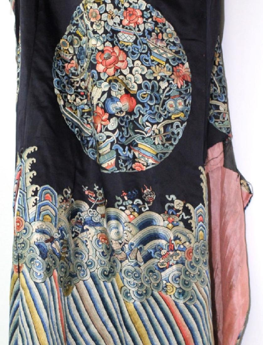 Chinese Polychrome Floral Embroidered Silk Robe - 10