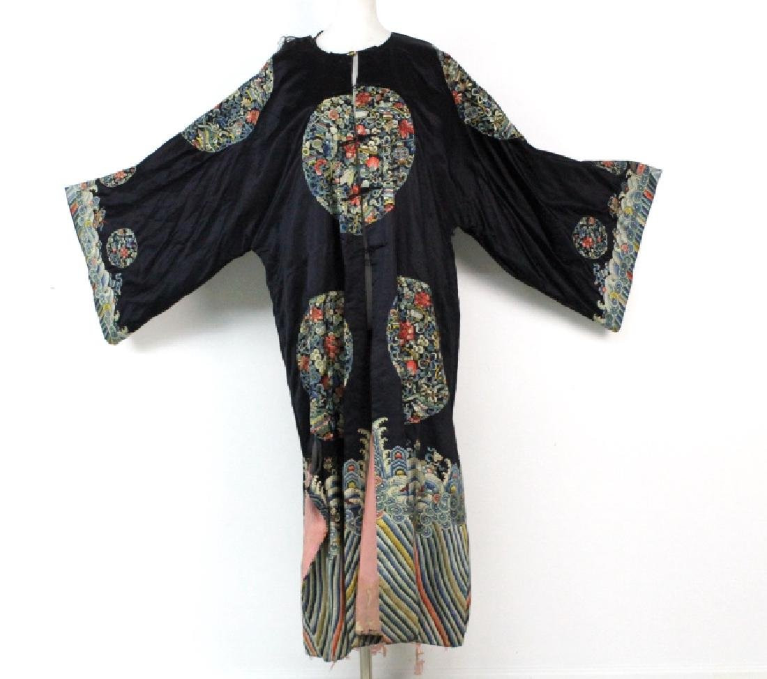 Chinese Polychrome Floral Embroidered Silk Robe