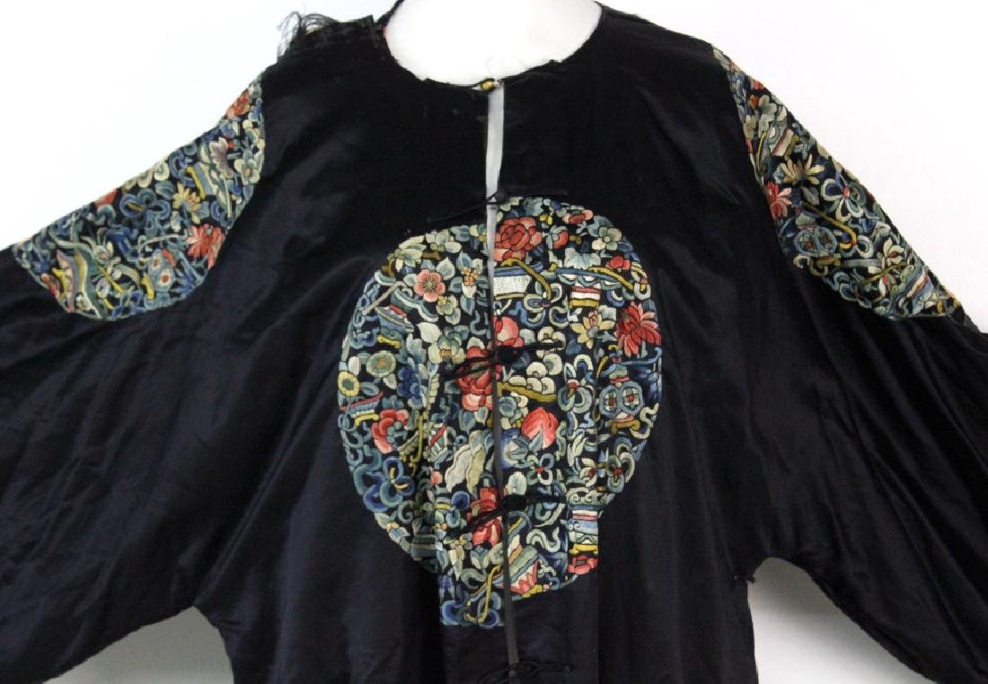 Chinese Polychrome Floral Embroidered Silk Robe - 2