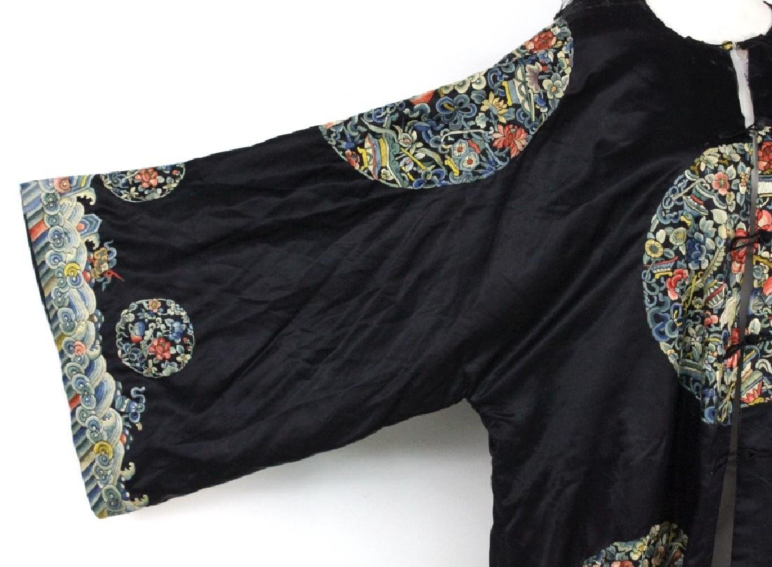 Chinese Polychrome Floral Embroidered Silk Robe - 3