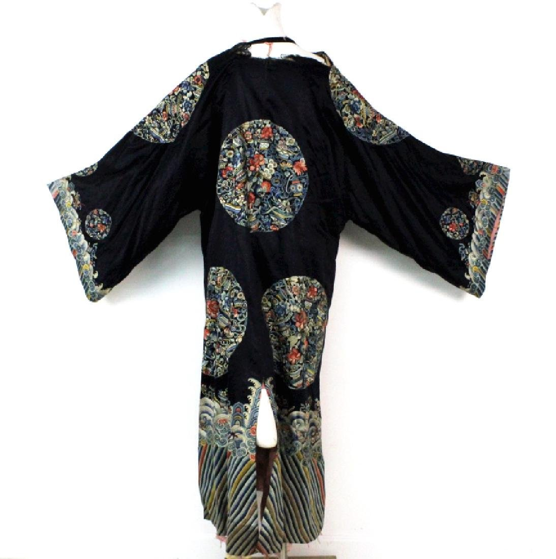 Chinese Polychrome Floral Embroidered Silk Robe - 6