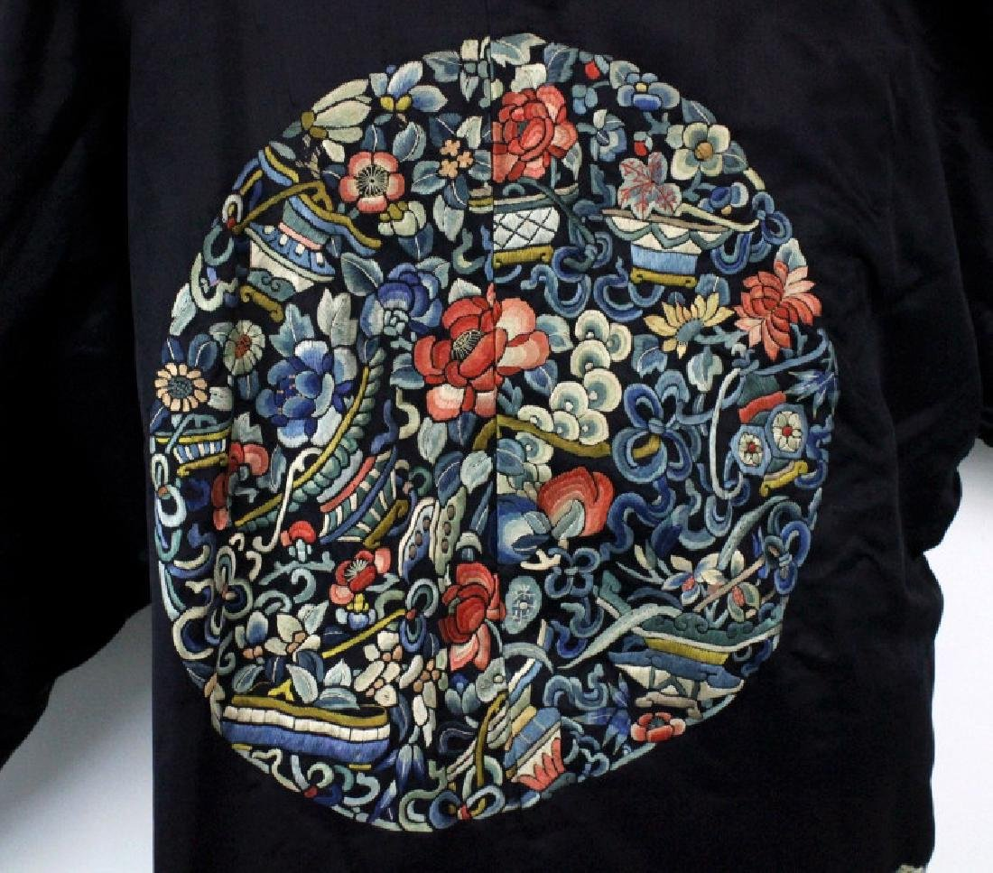 Chinese Polychrome Floral Embroidered Silk Robe - 8