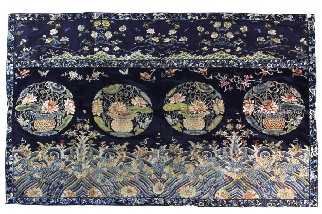 Chinese Silk Floral Basket  Wave Embroidered Panel