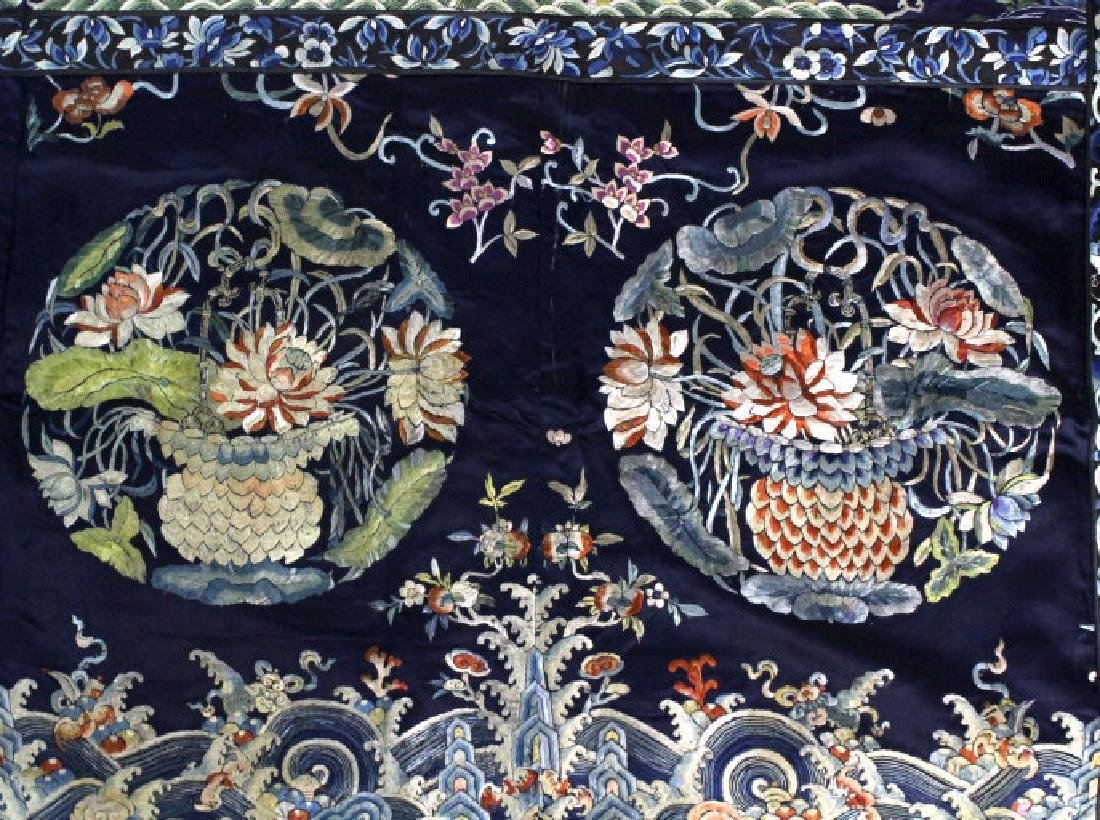Chinese Silk Floral Basket  Wave Embroidered Panel - 2