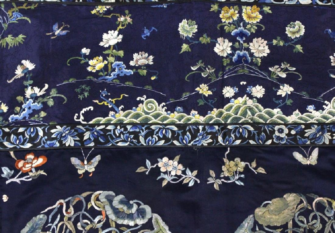 Chinese Silk Floral Basket  Wave Embroidered Panel - 4