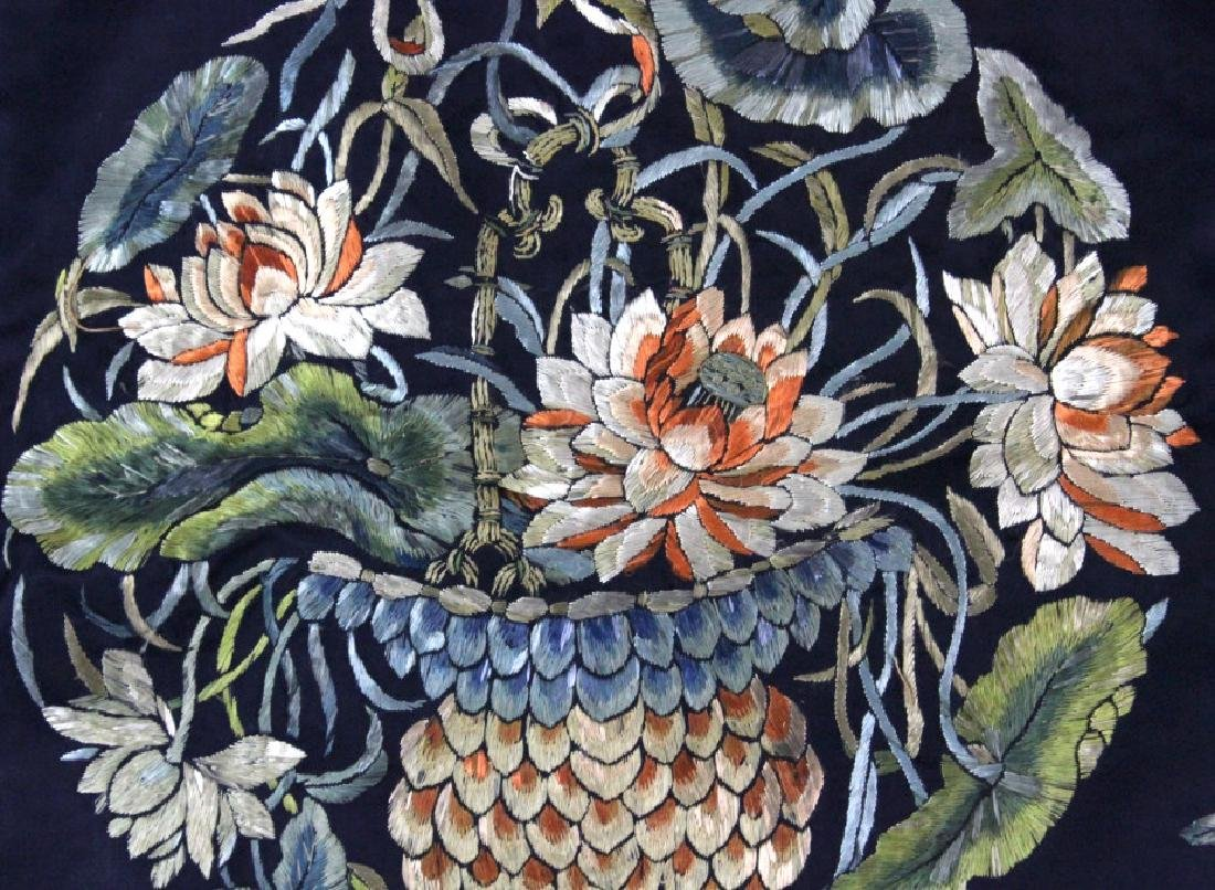 Chinese Silk Floral Basket  Wave Embroidered Panel - 5