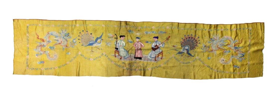 Chinese Imperial Yellow Silk Embroidered Panel