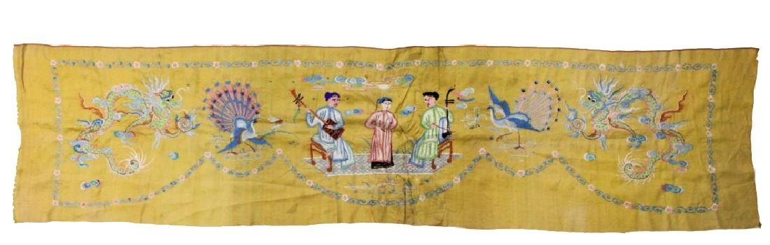 Chinese Imperial Yellow Silk Embroidered Panel - 2