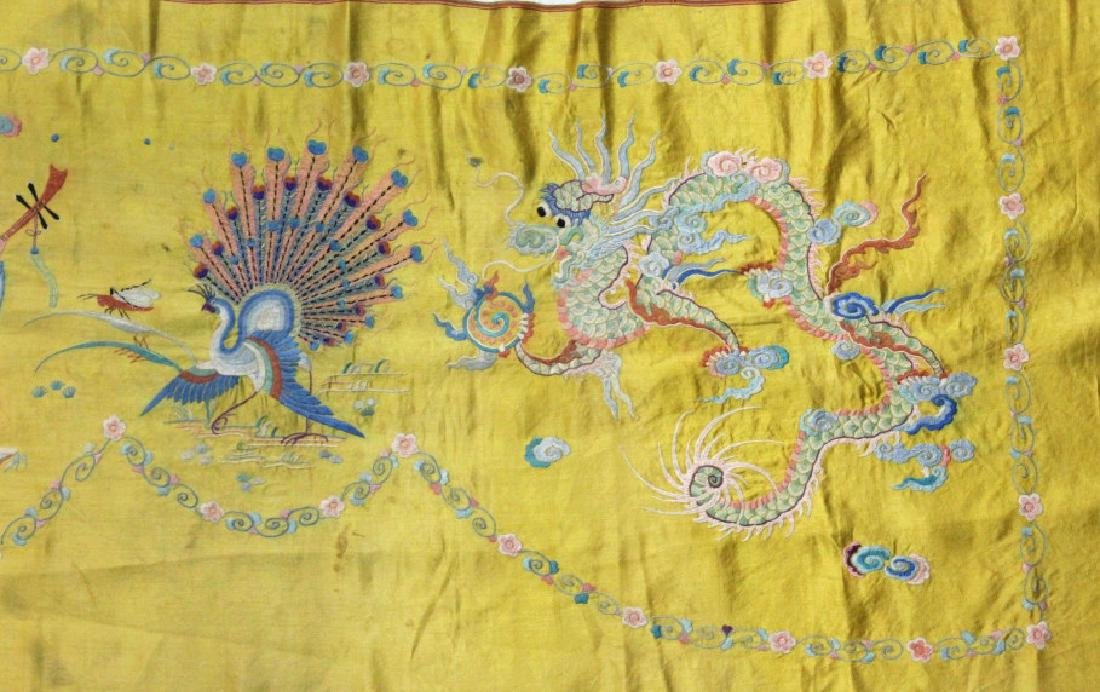 Chinese Imperial Yellow Silk Embroidered Panel - 4