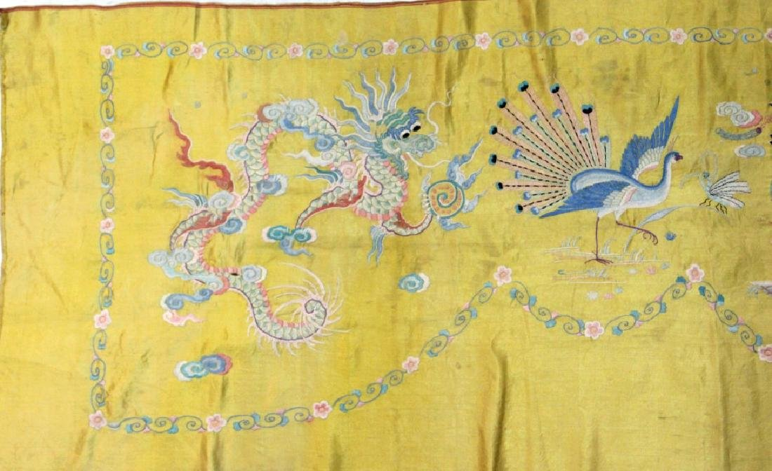 Chinese Imperial Yellow Silk Embroidered Panel - 5