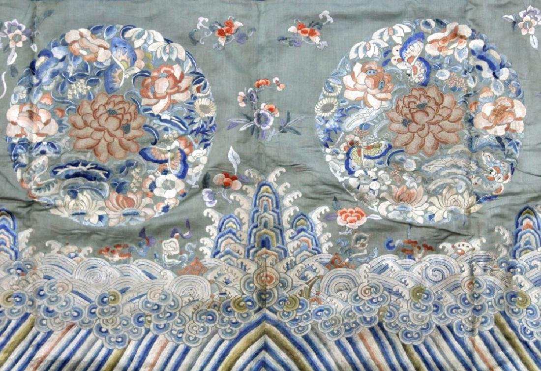 Chinese Embroidered Blossom Butterfly Silk Panel - 4