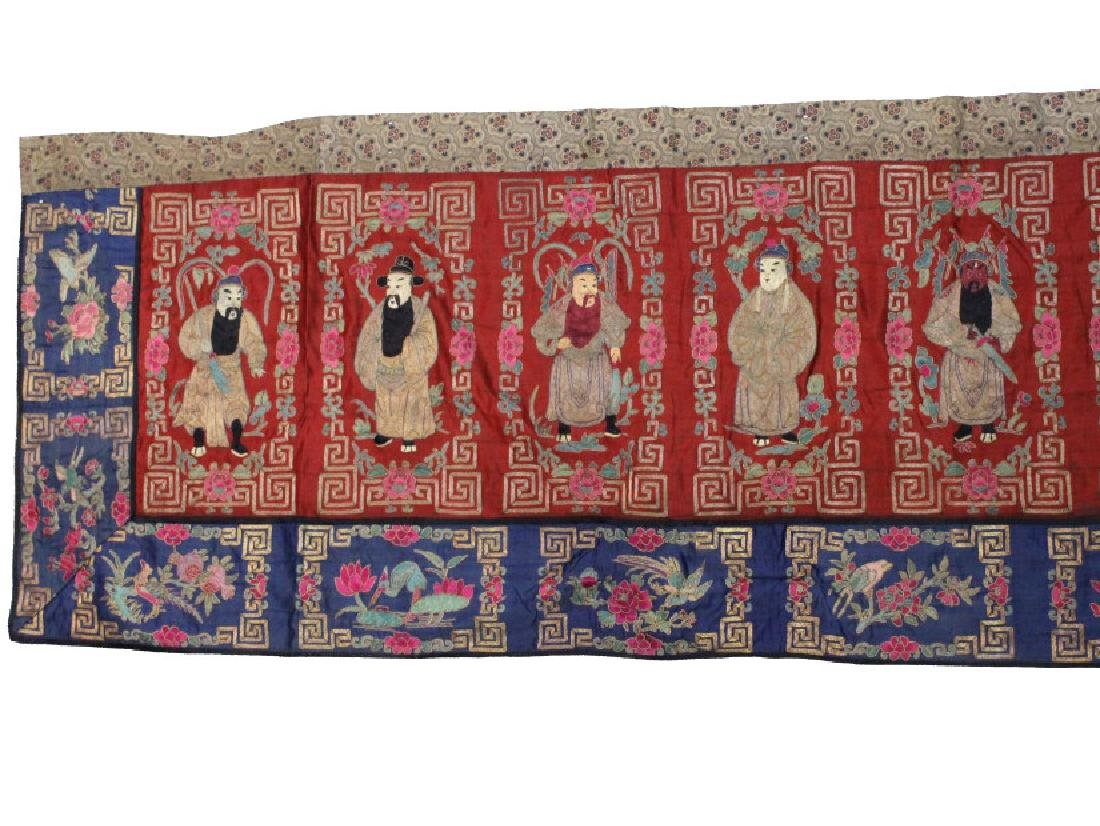 Chinese Embroidered Silk Panel of 12 Ancestors - 4