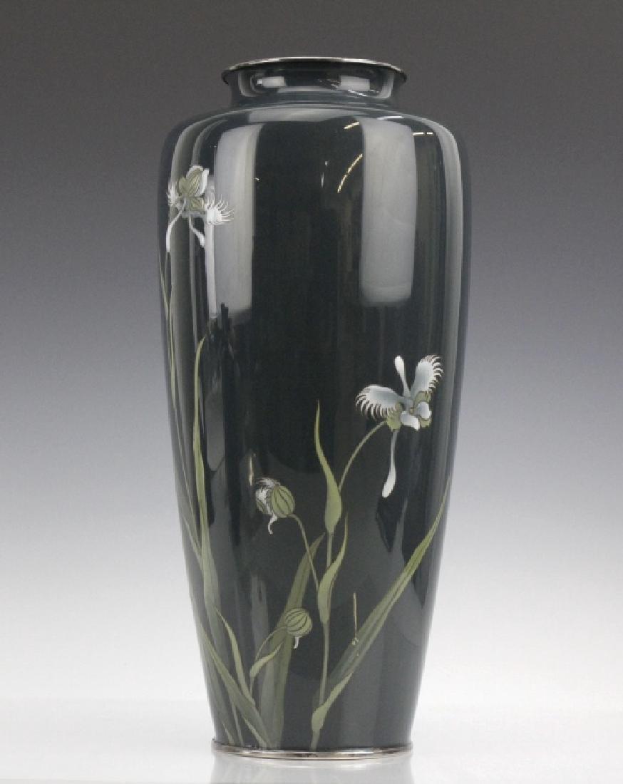 Japanese Cloisonne Green Moiage Enamel Vase