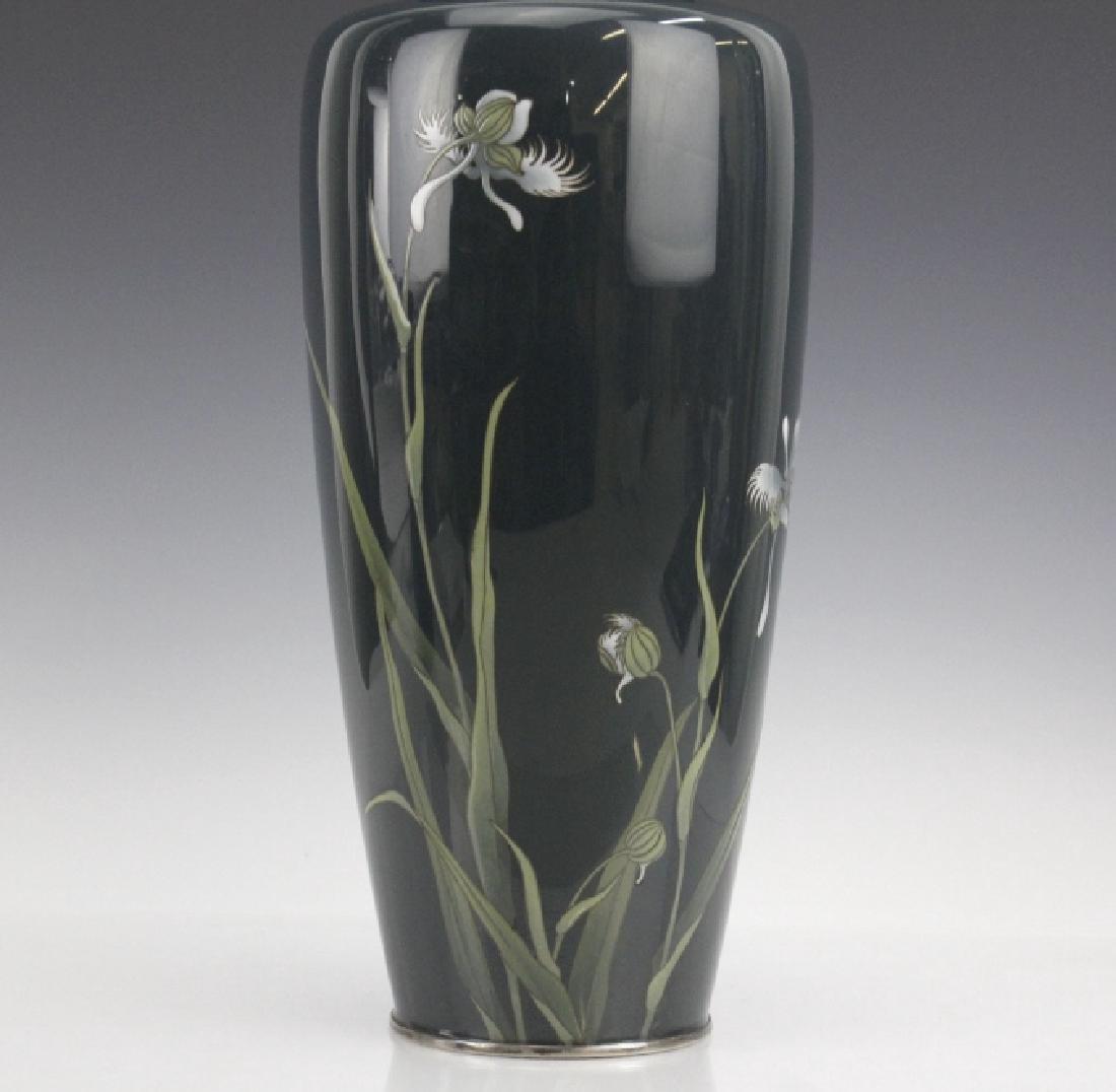 Japanese Cloisonne Green Moiage Enamel Vase - 2