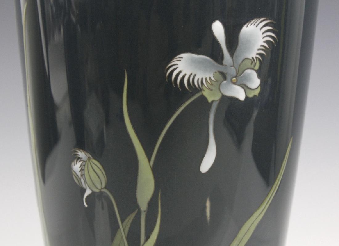 Japanese Cloisonne Green Moiage Enamel Vase - 3
