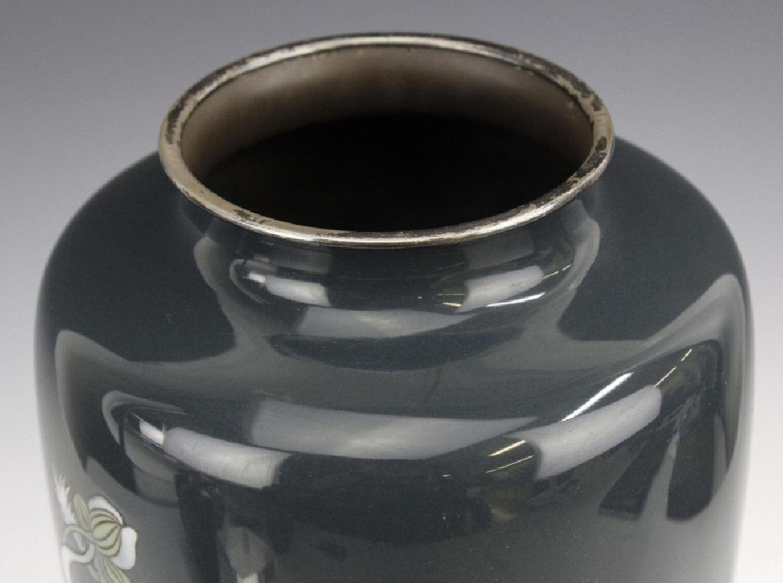 Japanese Cloisonne Green Moiage Enamel Vase - 4