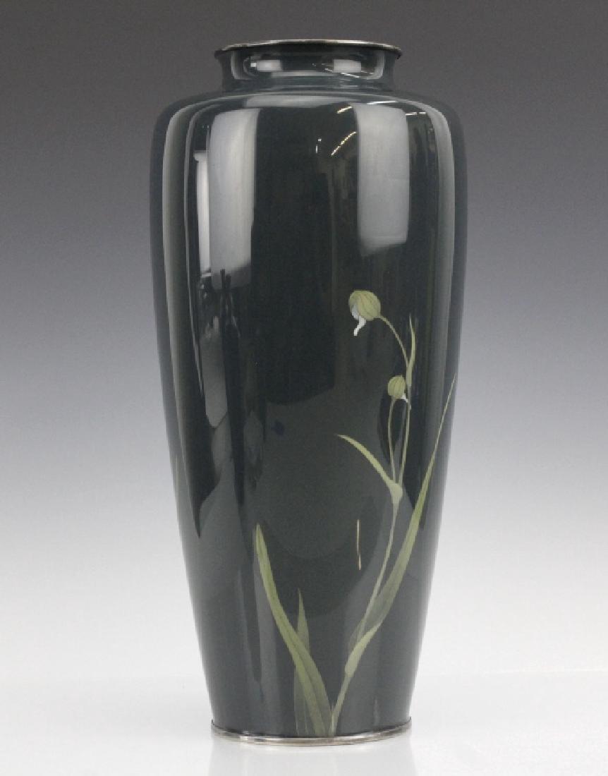 Japanese Cloisonne Green Moiage Enamel Vase - 5