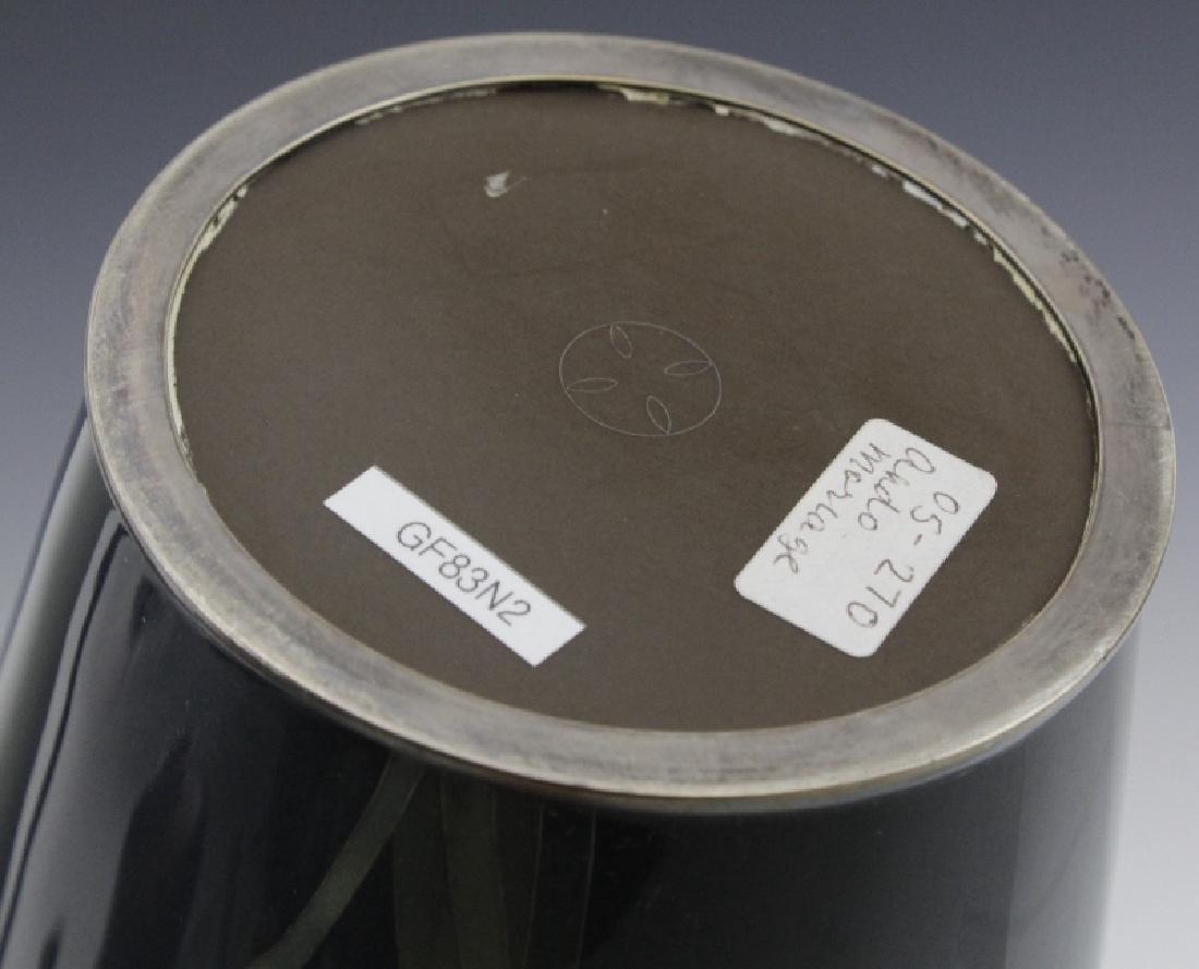 Japanese Cloisonne Green Moiage Enamel Vase - 6