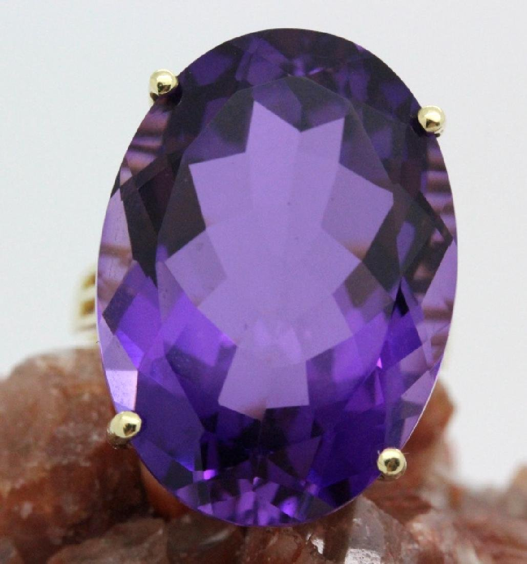 Vintage 14k Gold 25 Ct Deep Purple Amethyst Ring